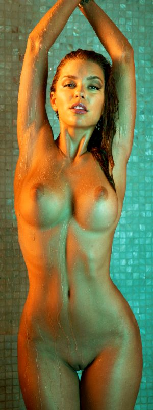 Anjou taking a shower