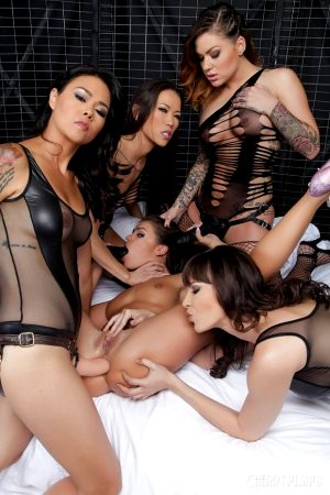 Asian women dominiating girl