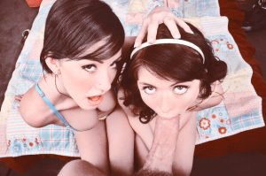 Awesome deepthroat threesome pic with a gorgeous teen stockings