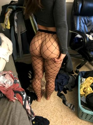 Big ass in fishnet