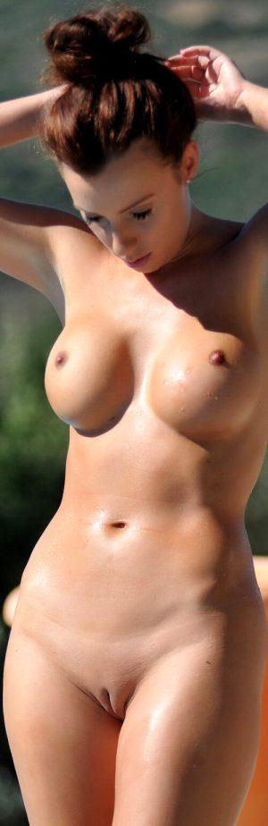 Big tits, small nipples, tight shaved pussy