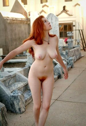 Crazy sexy. Fiery redhead with perfect body has even more fiery red pubic hair.