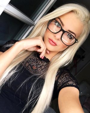 Cute blond with glasses