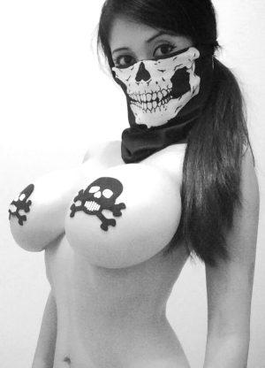 Dia de la Muerta costume for bimbos and sluts.