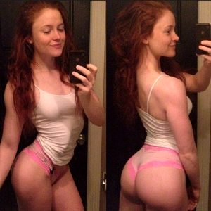 Ginger slut rightly proud of its ass.
