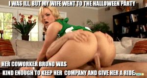 her coworker took her to the halloween party