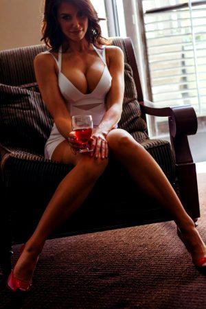 Hot brunette wife in tight dress
