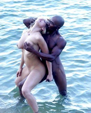 Interracial Handjob at the Lake