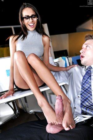 janice footjob in office