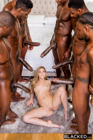 Kali Roses surrounded by huge cock