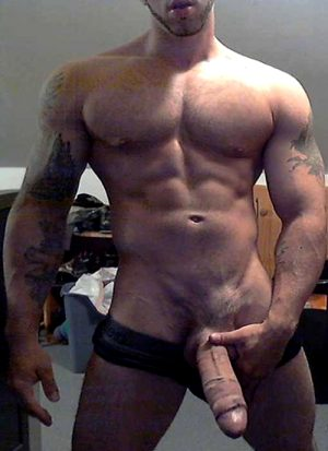 Muscle stud with huge thick cock