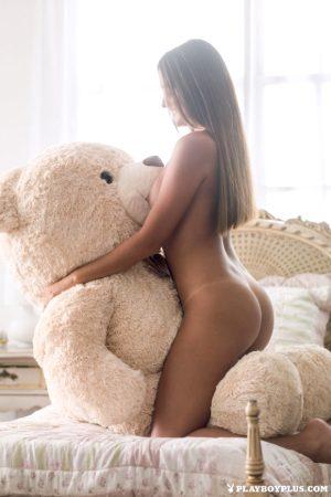 Perfect Brazilian model Catarina Migliorini with giant teddy bear