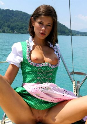 Posing on a boat