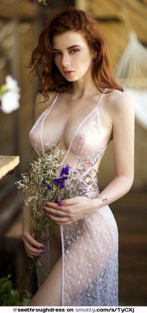 #seethroughdress #redhead