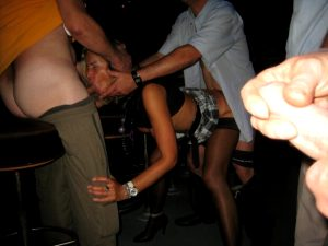 Slut wife tag teamed in bar by strangers