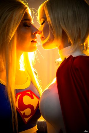 Super Girl and Power Girl about to make it happen