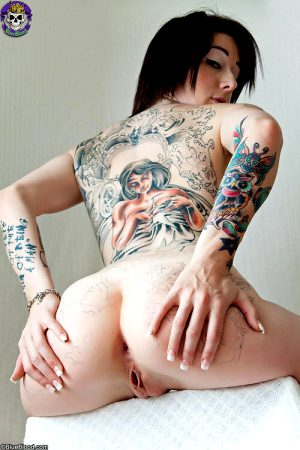Tattooed Goth girl shows off her corset and hot ass. Click the pic for more FREE shots from this BlueBlood GothicSluts shoot!
