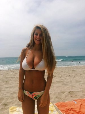 Teen with huge tits on the beach